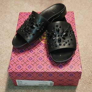 Tory Burch black Nappa leather Brae slide size 7